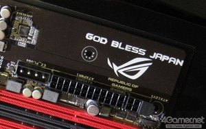 ASUS社マザーボードの基盤に「God Bless Japan(日本に神のご加護を)」