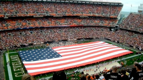 Cleveland Browns Stadium American Flag