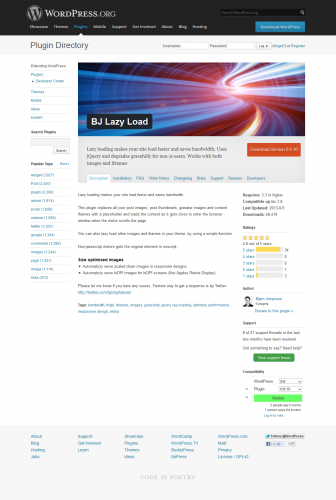 WordPress › BJ Lazy Load « WordPress Plugins