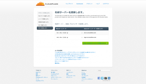 ネームサーバを更新 CloudFlare  Webパフォーマンス&セキュリティ会社