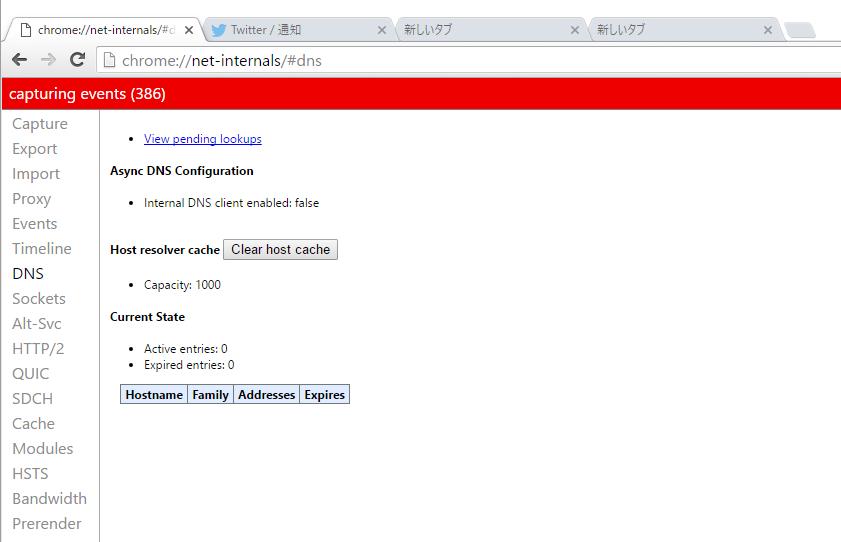 Google ChromeのDNSキャッシュの消し方